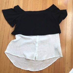 NWT Anthropologie Black and White top Large